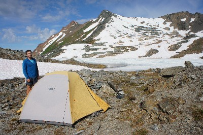 Our camp, on the shore of Upper Twin Lake