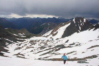 Hiking up snow slopes towards Crystal Peak