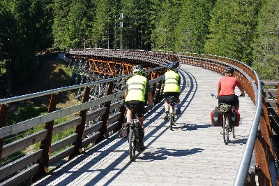 Riding across the restored Kinsol Trestle with Jan and Warrick