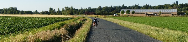 Early morning cycling along the Lochside Trail to Swartz Bay