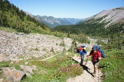 Ariel and Brent, hiking up towards Mt. Rainier