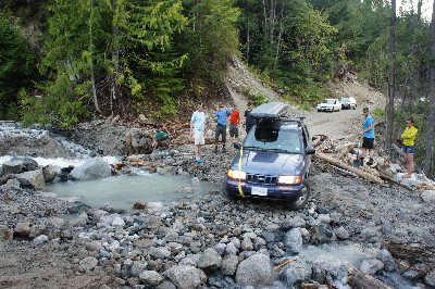We diverted the creek and then rebuilt this section of road