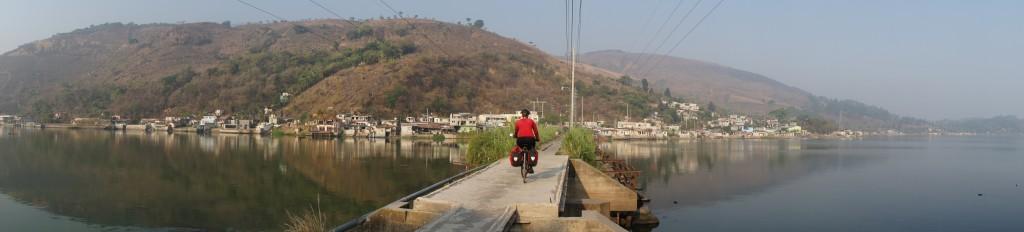 Crossing Lago Amatitlan on the cuasway