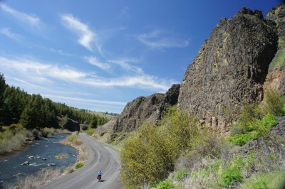 Cycling by the middle fork of the John Day river