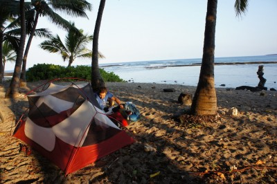 Private campground on Keei Beach