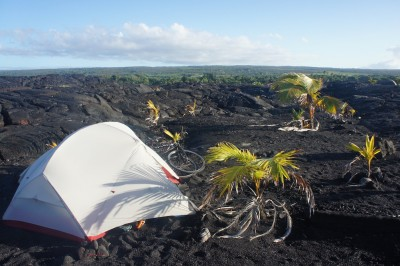 Camping in the middle of a lava field