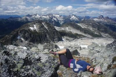 Maya, taking a nap on the summit of Tszil Mountain