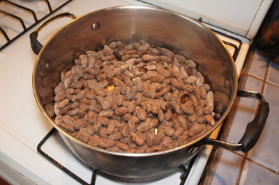 Roasting cocoa beans at home