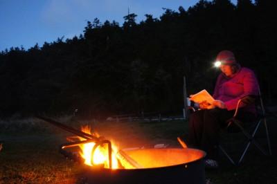 Bone fire at night