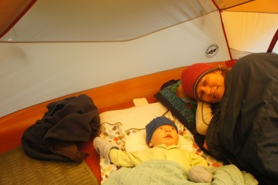 Neil's first night in the tent, many more to come!