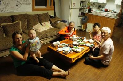 Tradional Korean meal in Yaksan