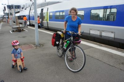 Arriving to Rennes and hopping on the balance bike