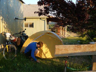 Camping in a family's yard, Washington, US